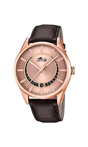 Lotus 15980/1 - Reloj de Cuarzo de Hombre con Esfera de Oro Rosa analógica y Correa de Piel de Color marrón