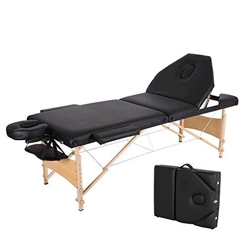 YZT QUEEN massagestoel, zwart, 3-delig, houten statief, verstelbaar en multifunctioneel, mooi bed met hoge en lage inklapfunctie, geschikt voor schoonheid, tatoeage, massage enz.