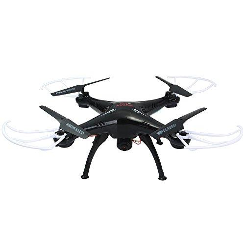 Syma X5SC Mejorado Nueva Versión Syma X5SC-1 Falcon Dron HD 2.0MP Cámara 4 Canales 2.4G Mando Distancia Cuadricóptero 6 Eje 3D Flip Volar UFO 360 Grados Eversión Con 4GB Tarjeta SD - Negro, x5sc-1