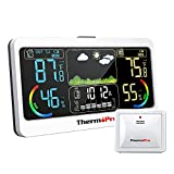 ThermoPro TP68B Weather Station 500ft Indoor Outdoor Thermometer Wireless, Hygrometer Barometer with Temperature Humidity Sensor, Forecast Weather Thermometers with 7' Large Adjustable LCD Screen