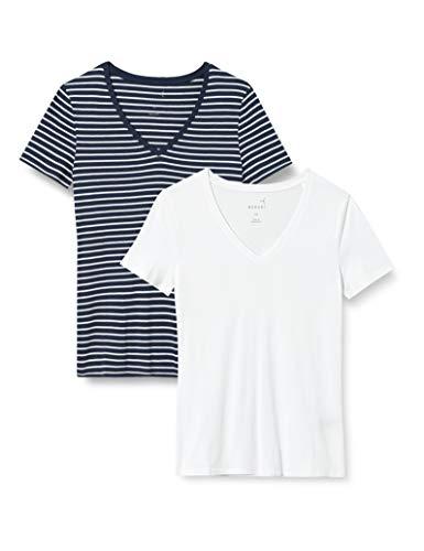 MERAKI AZJW-0027 Camiseta, Azul Marino Oscuro/Blanco, 36, Pack de 2