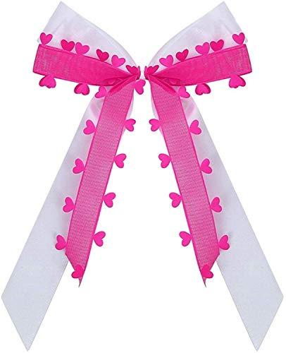 Praknu 25 Antennenschleifen Autoschleifen Pink Herzen I Handgemacht mit Satin Band I Hochzeit Schleifen N25
