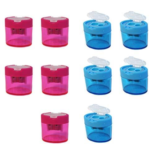 Projects Spitzer mit Dose für dicke und dünne Stifte Spar Set 10 Stück rosa blau   Doppelspitzer mit Behälter Bleistift Anspitzer dicke Buntstifte   Dosenspitzer Kinder Spitzer mit Dose Kinder