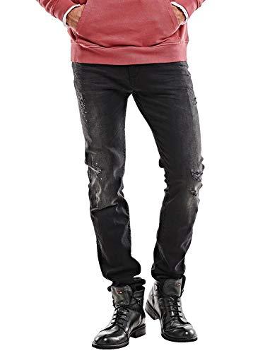 emilio adani Herren Destroy-Effekt Jeans, 26777, Schwarz in Größe 31/32