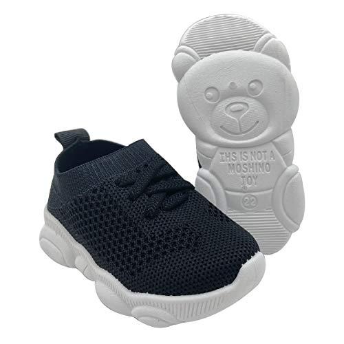 QUMOS Kleinkindschuhe 1-4 Jahre Baby First-Walking Trainer Kleinkind Slip on Infant Waves Schuhe Jungen Mädchen Baumwolle Mesh Atmungsaktive Turnschuhe im Freien(Schwarz,20EU)
