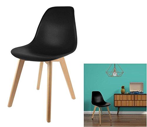 les colis noirs lcn Lot de 4 Chaise Scandinave Noire Coque Design - Meuble Décoration Tendance - 766