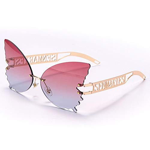 Único Gafas de Sol Sunglasses Mariposa Gafas De Sol Sin Montura Mujer Diseñador De Lujo Moda De Gran Tamaño Gafas De Sol