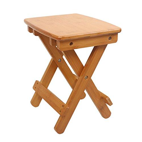 KKY-ENTER Tabouret pliant naturel bambou en bois massif maison extérieure pliable Portable enfants adultes en bois banc (taille : L37.8*W27.8*H39.7cm)