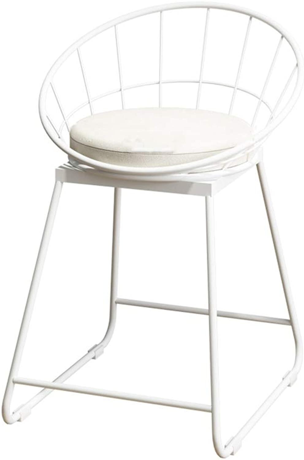 Barstools Chair Bar Stool Breakfast Chair High Chair and Cushion Seat Back Comfort Kitchen Breakfast Counter Greenhouse Bearing 150 Kg White (Size   42x44x45cm)