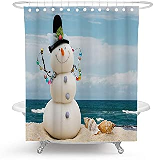 Ormis Snowman and Shell on The Beach Bath Curtain, Polyester Fabric Waterproof Shower Curtain for Bathroom, 72X72 inches, Shower Curtains Hooks Included