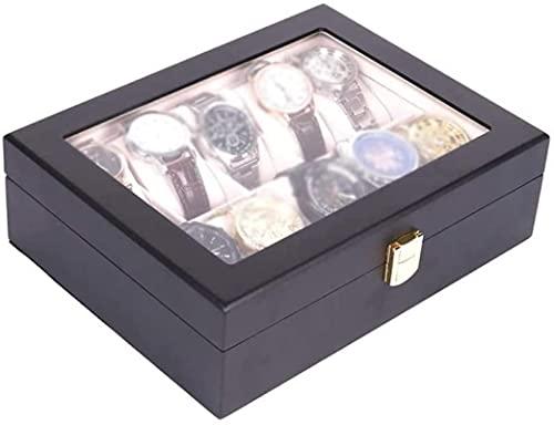 Organizador de caja de relojes de joyería para hombres con cerradura y visualización de vidrio, estuche para accesorios de joyería para hombres, negro
