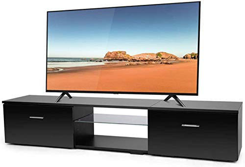 TUSY Black TV Stand for 65 Inch TV Stands, Media Console Entertainment Center Television Table, 2 Storage Cabinet with Open Shelves for Living Room Bedroom