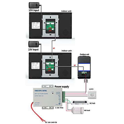 Sistema de videoportero con timbre, sistema de videoportero ultra delgado a prueba de agua, mejoras para el hogar para casas Hoteles, oficinas, villas, apartamentos, edificios públicos(Transl)