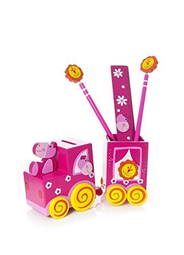 Mousehouse Gifts Lapicero Rosa en Forma de Tren con hipopótamo y Juego de Escritorio para niñas