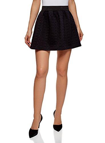 oodji Ultra Mujer Falda de Tejido Texturizado con Cinturón Elástico, Negro, ES 40 / M