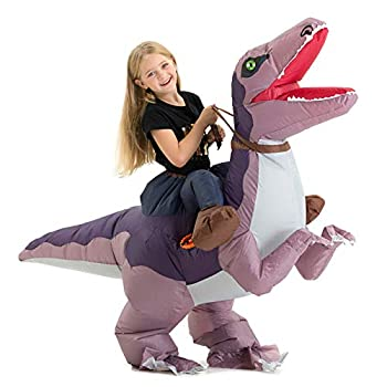 Inflatable Dinosaur Costume Kids for Boys Girls Inflatable Blow Up Riding Dinosaur Velociraptor Costume Children Inflatable Ride On Dinosaur Halloween Costume Child
