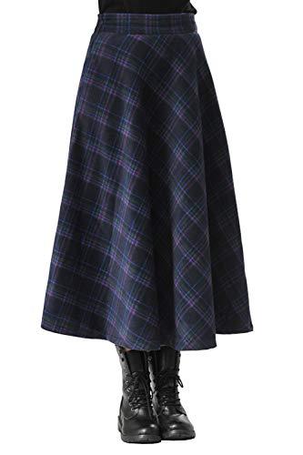 BININBOX®Mädchen Damen Retro hohe Taille A-Linie Rock Thicken Karierten Rock Faltenröcke Wollrock Tellerrock Herbst Winterrock Lang (M, Blau)