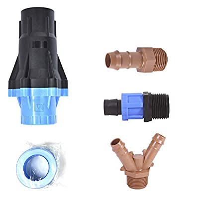"Universal Drip Irrigation Faucet Adapter Connector Kit: Connect Any 1/2 Inch Tubing to 3/4"" Inch Faucet/Garden Hose - Includes 25PSI Pressure Regulator, Three Adapters & Teflon Tape by One Stop Outdoor"