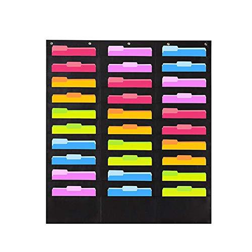 Aufbewahrung Taschen Tabelle mit 30 Taschen, Wandbehang Feile Ordner Taschen Chart Organizer Oxford Tuch Scrapbooking Ordner Aufbewahrungstasche - Schwarz, Einheitsgröße
