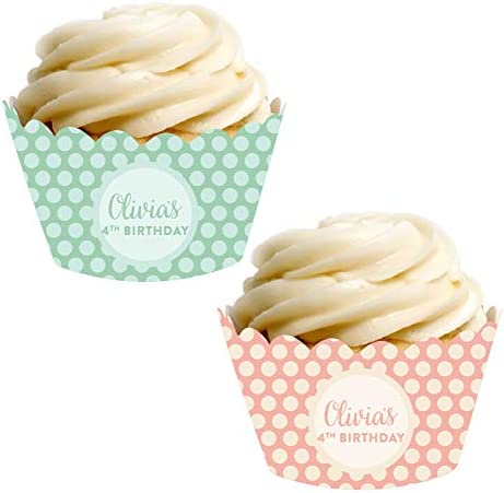 Andaz Press Party Cupcake Wrapper Decorations Peach and Mint Green Polka Dots Your Text Here product image