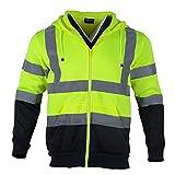 FONIRRA Sudadera con capucha de trabajo reflectante para hombre con alta visibilidad y chaqueta de seguridad de manga larga con cremallera(Amarillo,S)