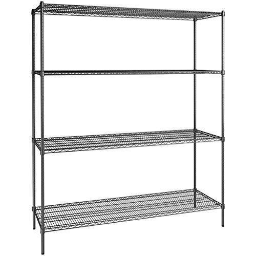 24 inch x 72 inch Certified Black Epoxy 4 Shelf Kit with 86 inch Posts. Storage Shelf. Garage Storage Shelves. Shelving Units and Storage. Food Storage Shelf. Storage Rack. Bakers Racks