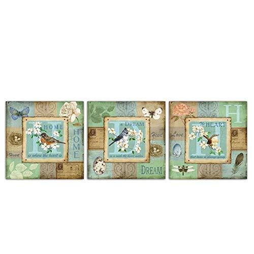 A&D Moderne Leinwand Vögel Gemälde Wandkunst Schmetterling Spatz Poster Nordic Drucke Prinzessin Blumen Bilder Wohnzimmer Wohnkultur-50x50 cm x 3 stücke-Kein Rahmen