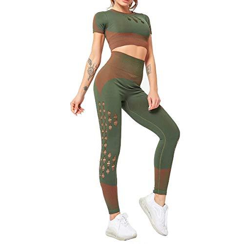 GLXQIJ Frauen Stretch Seamless Fitness Yoga Sport Top, 2-Teiliger Satz Sport-BH Und Hose Legging,Grün,L