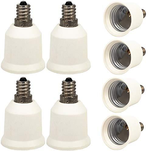 ZDCDJ 8 adaptadores de casquillo E12 a E27 para bombillas LED, halógenas, de bajo consumo