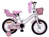 Amigo Magic - Bicicleta Infantil de 14 Pulgadas - para niñas de 3 a 4 años - con V-Brake, Freno de Retroceso, Cesta, Asiento para muñecas, Timbre y ruedines - Blanco