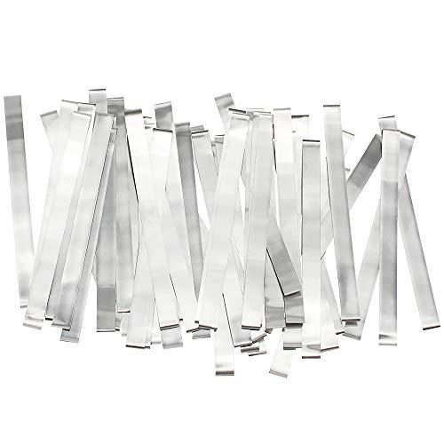 50 tiras de níquel puro de 0,15 x 8 x 100 mm, 99,96% níquel para soldadura por puntos de soldadura 18650 de alta capacidad de litio por U.S. Solid Product Silver