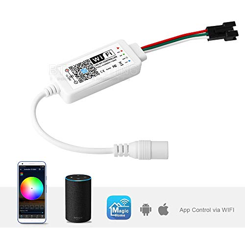 BTF-LIGHTING WS2812B UCS1903 SM16703 Controller MiNi WiFi RGB Supporto Assistant Google/Alexa Android/iOS Magic Home APP DC12V