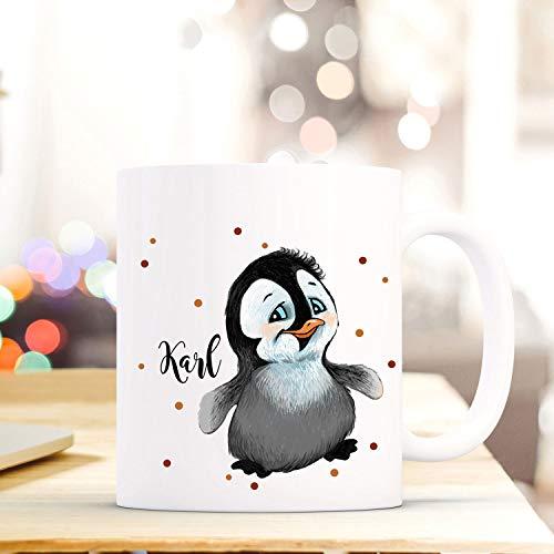 ilka parey wandtattoo-welt Tasse Becher mit Pinguin & Punkte Geschenk mit Tiermotiv Kaffeetasse Pinguintasse mit Namen Wunschnamen Kaffeebecher ts779