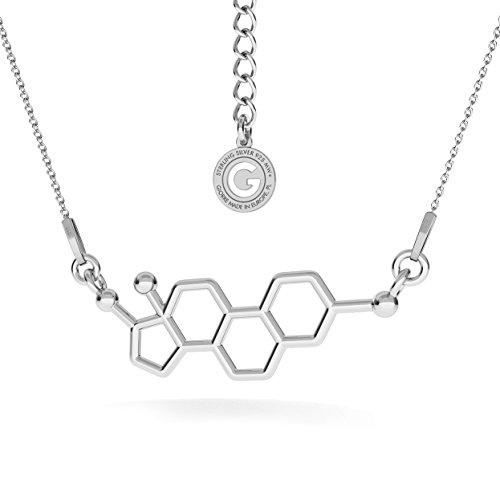GIORRE ¤ Neu Östrogen Halskette Chemische Formel ¤ Feine Sterling Silber 925 SILBER : White Rhodium Plating