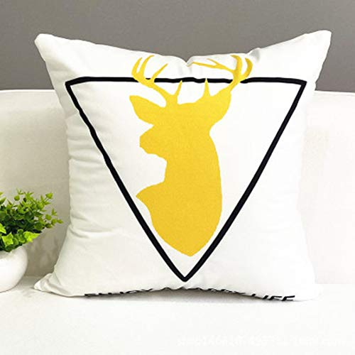 JGHF Funda de almohada de rayas amarillas geométricas para cojín impresión, funda de almohada para dormitorio o oficina (GA 34,45 x 45 (impresión + núcleo de almohada))