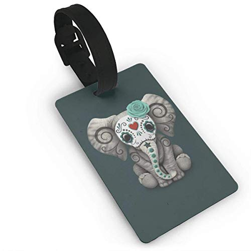 Teal Blue Day of The Dead Sugar Skull Baby Elephant Travel Accory Lage ID Tag, PVC Lage Tags & Bag Tags with Detachable Wristband
