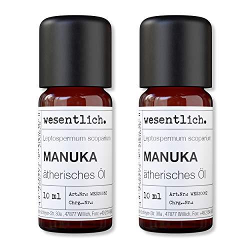 wesentlich. Olio essenziale di manuka, 100% naturale (bottiglia di vetro), per lampada profumata e diffusore (2 x 10 ml)