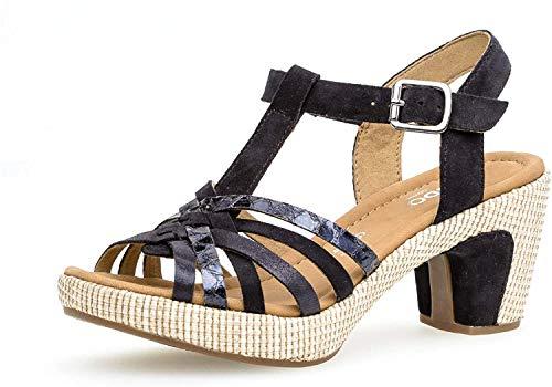 Gabor Damen Sandalen, Frauen Sandaletten,leichte Mehrweite, Sandaletten Sommerschuhe offene Absatzschuhe Absatz,Pazifik (ba.st),37.5 EU / 4.5 UK