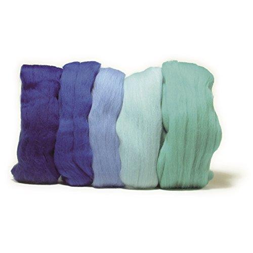 Rayher 5365100 Lana Merino Pettinata, Super Fine, 18 Mic, 5 Colori da 10 G Ciascuno, Tonalità Del Blu, 100% Pura Lana di Pecora Merino per Infeltrimento