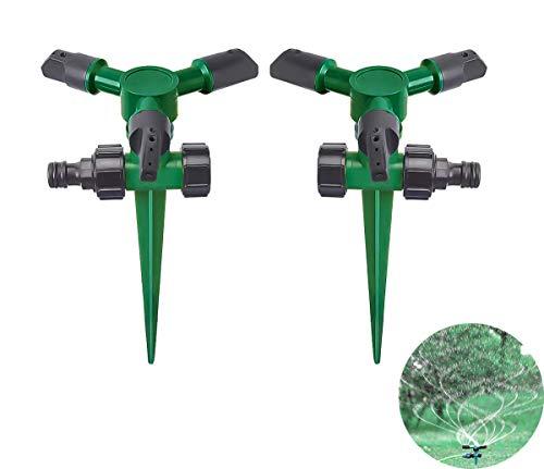 2 Stücke Garten Sprinkler, Automatische Rasen Wasser Sprinkler, 360 Grad 3- Arm Rotierende Sprenger für Garten Rasen Bewässerungssystem Bewässerung
