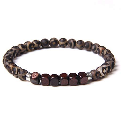 6 mm Tibetan Stone Beads Bracelets for Couples Buddha Sqaure Wood Charm Bracelet Men Elastic Jewelry Women Pulsera,Tibetan Agate,21cm