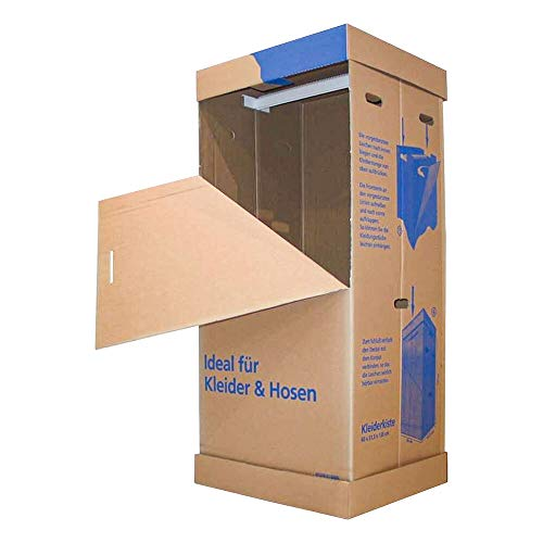 1-PACK Kleiderkiste mit Stange für Umzug und Lagerung, 1350x600x515mm / Ideal zum Transportieren und zum saisonalen Aufbewahren