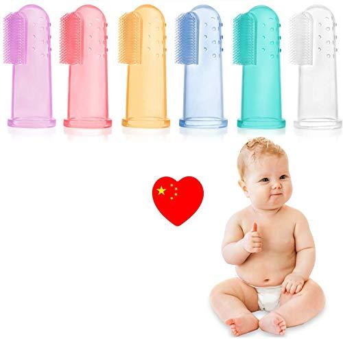 6 PCS Cepillo Dientes Bebe, bebé cepillo de dientes de los niños de silicona, Con Caja Cepillo Dedo Bebe Para, Seguro e higiénico, sin BPA (0-24 Meses) (color)