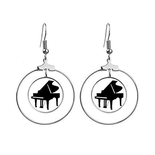 Piano Klassieke Muziek Instrument Patroon Oorbellen Dangle Hoop Sieraden Drop Cirkel