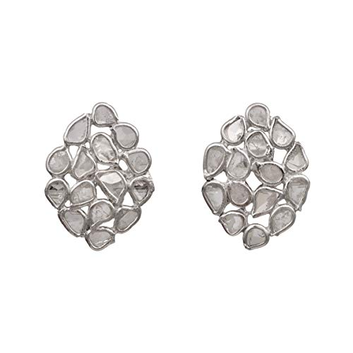1.20 CTW Pendientes de botón de diseño de polki de diamantes de corte natural sin cortar - Plata de ley 925 chapada en platino
