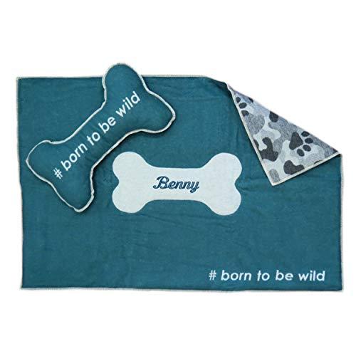 Fussenegger Set aus Hundematte mit Wunsch-Name bestickt 80 cm x 120 cm gefüttert born to be wild und Kissen