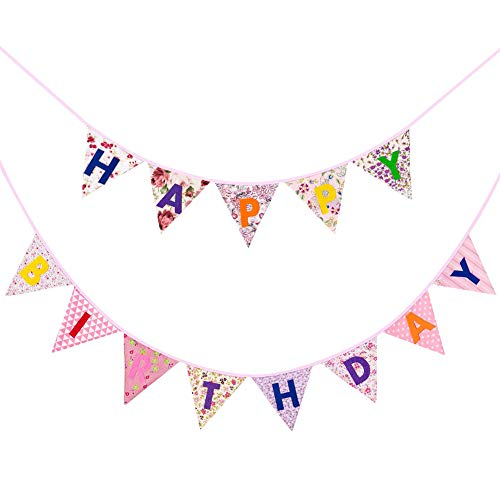 Happy Birthday Bunting Banner Fabric Pennant Garland Cotton Floral Bunting Flags Reusable Triangle Banner Happy Birthday Letter Garland Vintage Christmas Party Banners for Girls Ceremonies Parties