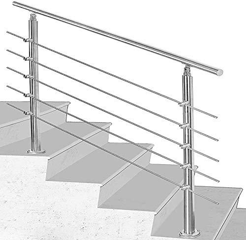 Gweat Light Innen- und Außentreppe Geländer aus Edelstahl Geländer und Treppengeländer gebürstet,C-100CM