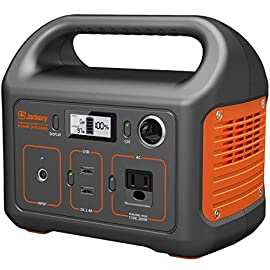 """Jackery portable power station explorer 240, 240wh backup lithium battery, 110v/200w pure sine wave ac outlet, solar… 1 included in the """"best portable power station for use in the outdoors"""" by digital trends. Multifunctional outputs: jackery explorer 240 is equipped with a 240 watt-hour (16. 8ah, 14. 4v) lithium-ion battery pack. It features 1* ac outlet (110v 200w 400w peak), 2* usb-a ports and 1* dc car port to power many equipments such as phone, laptop, light, fan, mini cooler and so on with pure sine wave inverter. Entry-level explorer 240 for outdoor scenes: jackery portable power station with solid handle, easy to carry and easy to operate wherever you go. A solid portable power can power your iphone, laptop and camping light up, when you enjoying weekend camping or working from home."""