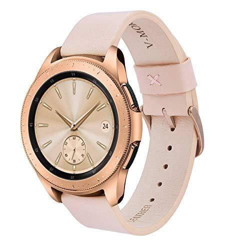 V-MORO for Galaxy Watch 42mm Rose Gold/Gear Sport Bands Women, 20mm Soft Leather Band Bracelet Strap for Smasung Galaxy Watch 42mm R810/Samsung Gear Sport Smartwatch R600/Garmin VivoActive 3 Pink